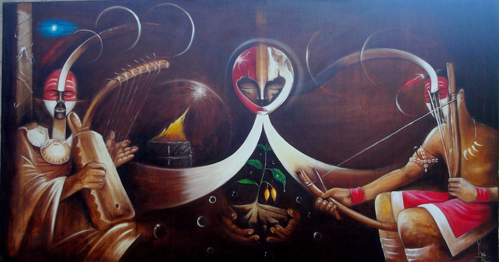 Tableau peint par Nicolas Moussounda.