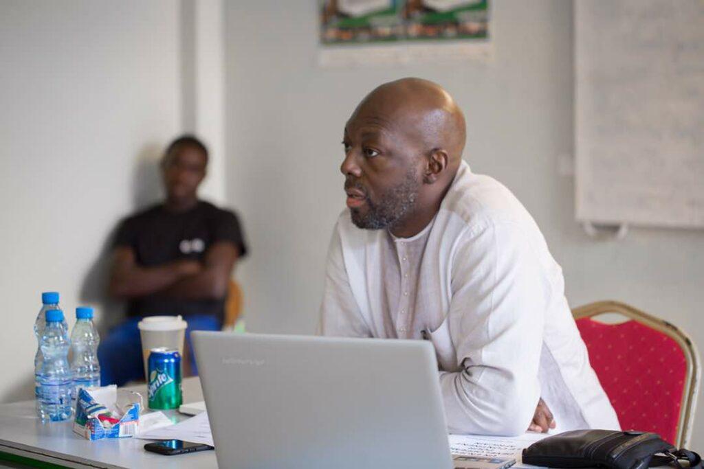 Robert Brazza, lors de l'atelier portant sur le thème: Culture, enjeu de développement. Crédit photos: Serge Rahim.